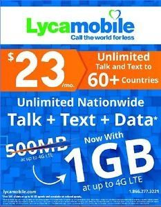 Lycamobile Preloaded Sim Card with $23 Plan Service Plan with Unlimited talk text and Data(up to 1G LTE speed) 1 Month Plan  Unlimited Nationwide Talk, Text & Data First 1GB Data at up to 4G LTE  Standard,Micro or Nano 3-in-1 Sim Card  Unlimited free calls to Lycamobile numbers worldwide.  Unlimited calls to over 60 countries Unlimited international calling from the USA to India, China ,Mexico , Canada, Singapore, Thailand ,Hong Kong,France,Portugal,United Kingdom,Venezuela. Unlimited ...