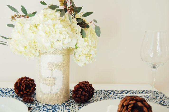blue white hydrangea burlap winter wedding inspiration holiday weddingsWhite Flower, Wedding Ideas, Pine Cones, Blue White, Holiday Wedding, Burlap Stencils, Winter Weddings, Winter Wedding Inspiration, White Hydrangeas