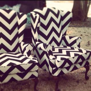 Chevron wingback chairs. Fabric update makes one eye-catching seat. #blackandwhite