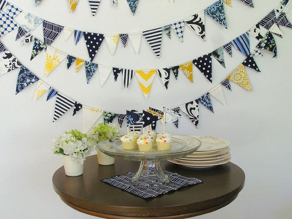 Fabric Bunting- Navy and Gold- 20 foot sailor boy party theme baby shower wedding blue yellow white banner garland triangles birthday via Etsy