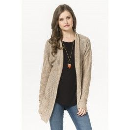 Taupe waffle knit cardigan with pockets