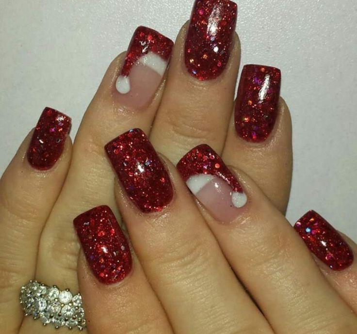 Christmas Santa hat nails