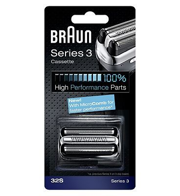 #Braun shaver replacement part 32S 10090363 #108 Advantage card points. Braun replacement foil cutter blocks help to maintain your shavers maximum performance. For use with Braun Series 3 Shavers. FREE Delivery on orders over 45 GBP. (Barcode EAN=4210201072881)