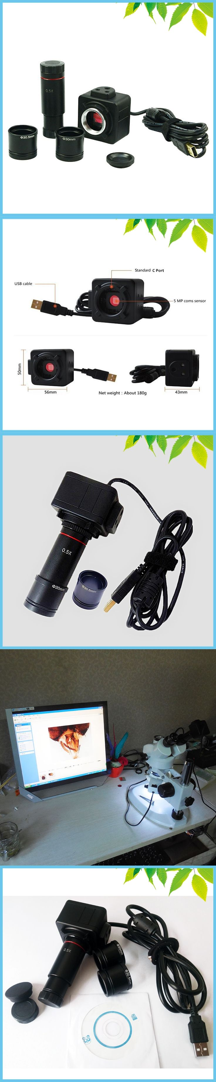 5MP Industrial Electronic Eyepiece Digital USB CMOS Video Camera with 0.5X C-Mount for Biological Stereo Microscope