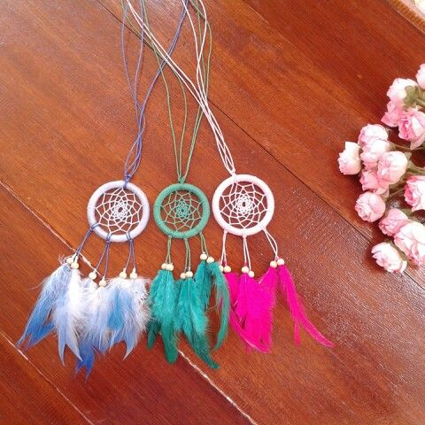 DIY dreamcatcher. What you'll need are ring had diameters 4 cm, feather, wool