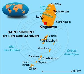 Carte des Saint Vincent et les Grenadines