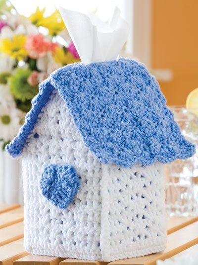 Birdhouse Tissue Box Cover free crochet pattern - 10 Free Crochet Tissue Box Cover Patterns - The Lavender Chair