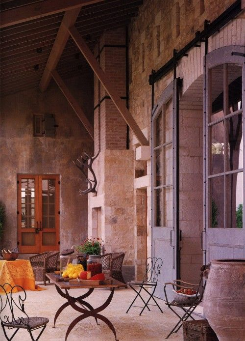 doors: Patio Design, The Doors, French Farmhouse, Sliding Barns Doors, Doors Design, French Doors, Arches Doors, Barns House, Sliding Doors