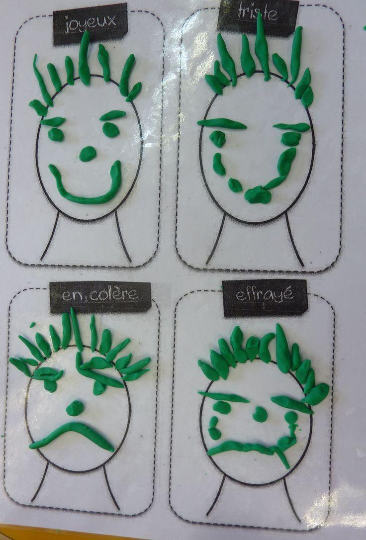 réaliser 4 expressions différentes en pâte à modeler
