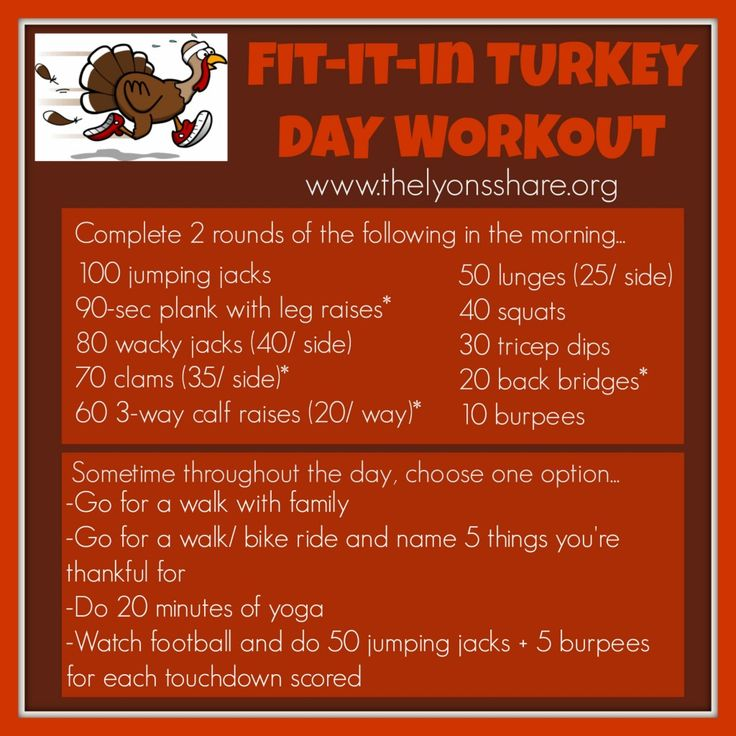 Fit It In Turkey Day Workout from The Lyons Share ... even the busiest chef can fit something in on Turkey Day!