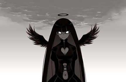 anjo gótico, preto, anime, asas, escuro, mal, assustador papéis de parede