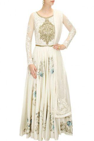 Ivory floor length anarkali – Panache Haute Couture