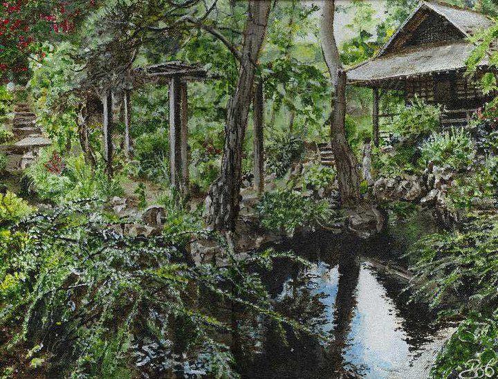 Japanese Gardens, Co. Kildare.  A painting by Bob Gravenor.   www.facebook.com/BobGravenorFineArt