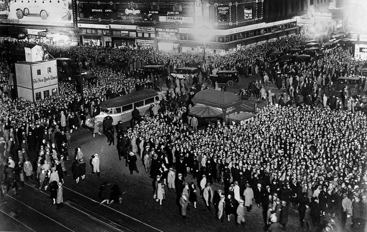 A crowd of people gathered in Times Square to watch the returns of the election to decide the new American President on Nov. 13, 1928. President-elect Herbert Hoover was returned with an overwhelming majority.