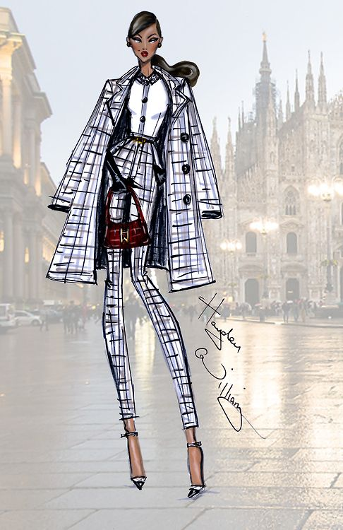 MFW: 'Milan Moda' by Hayden Williams - Hayden Williams Fashion Illustrations