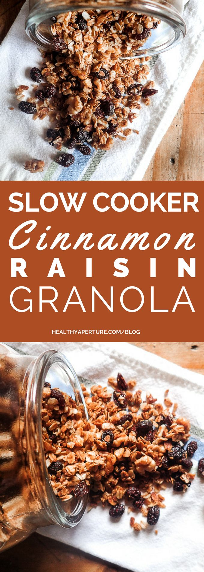 Check out this Slow Cooker Cinnamon Raisin Granola recipe. It's got just the right amount of crunch and sweetness.