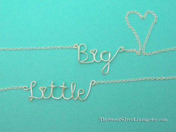 Sorority Set of Two Big and Little Sister Wire Necklaces
