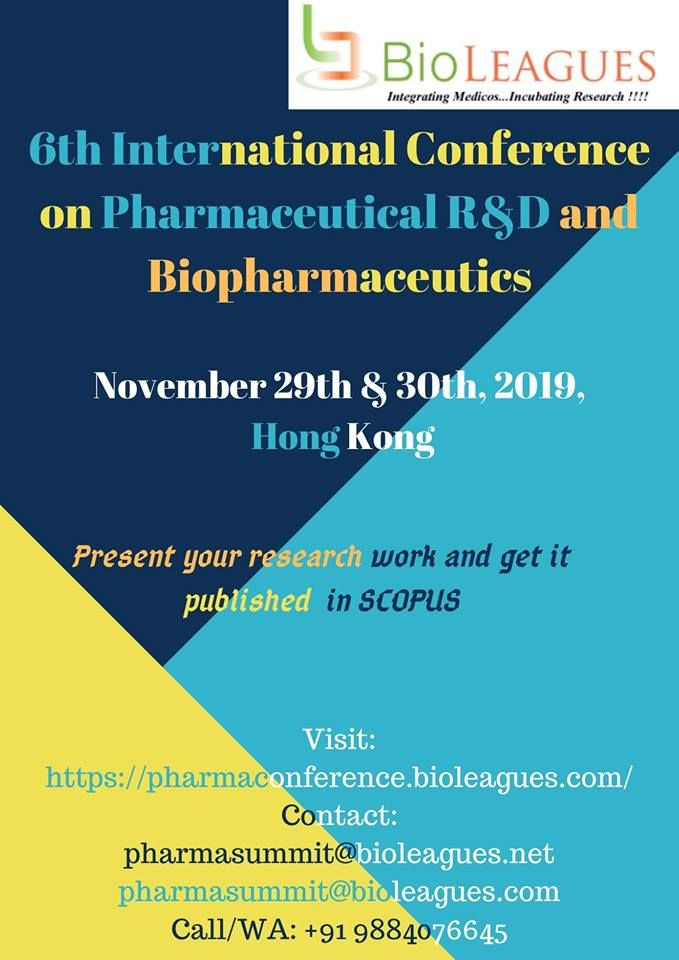 Share Your Research Proposals At 6th International Pharma Conference And Get It Published In Scopus Phar Conference Research Proposal Science