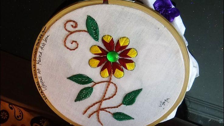 Hand Embroidery  - Beautiful raised fishbone stitch for saree border design