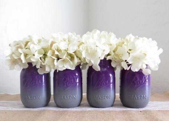 Purple and Gray Ombre Mason Jars with Glitter Base Accent, Plum Wedding, Bridal Shower, Rehersal, Baby Shower, Graduation, Centerpieces by MyHeartByHand on Etsy