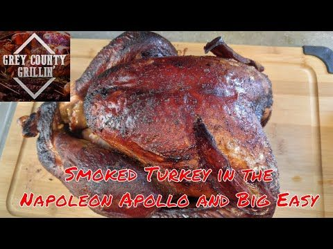 Check out my video!  I smoked a turkey in my Napoleon smoker with hickory wood and finished in my Big Easy oil-less Turkey fryer. Check out the colour on this bird!  The full step by step instructions are in the video.