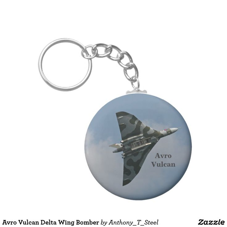 Avro Vulcan Delta Wing Bomber Keychain A key ring for an aviation enthusiast, with the supersonic Avro Vulcan Delta Wing Strategic Bomber in flight, with the bomb bay open.