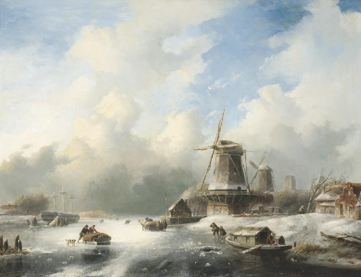 Jan Jacob Spohler - Winterlandschap met bedrijvigheid op het ijs en een ingevroren driemaster