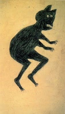 Bill Traylor (1854-1949) - Creeping Black Critter. Poster Paint and Pencil on Cardboard. Circa 1939-1942.