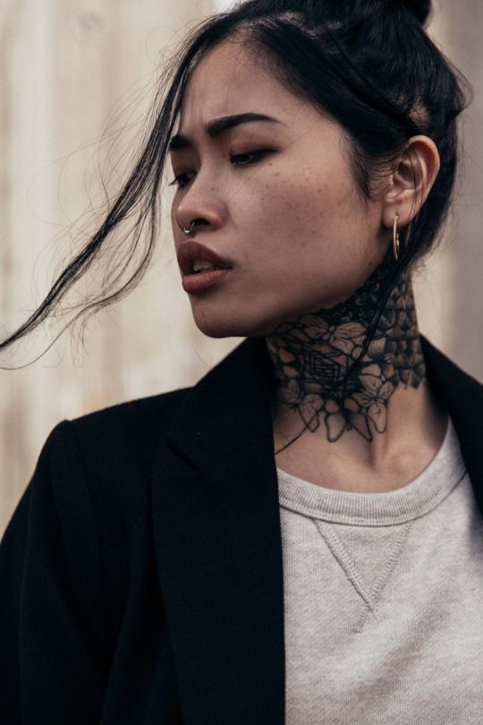The 25 best neck tattoos ideas on pinterest rose neck for Neck tattoos for females