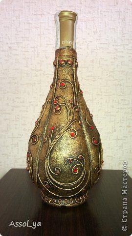 Декор предметов Аппликация из скрученных жгутиков дары Востока Бутылки стеклянные Нитки Салфетки фото 1
