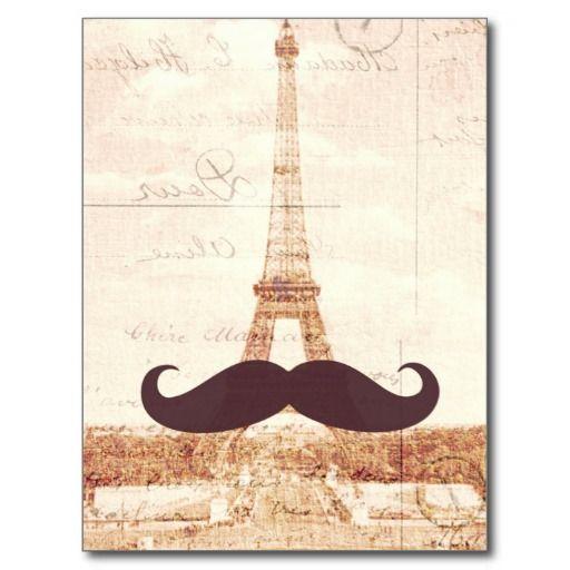 Mustache Eiffel Tower Post Cards