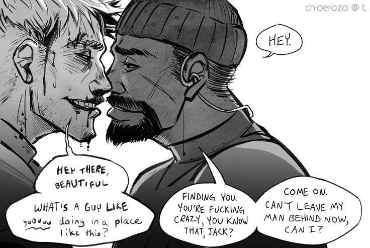 "chloerozo: """"On your feet, soldier."" Some wholesome flirtatious Reaper76 content, or rather Jack Morrison and Gabriel Reyes, back when they got into trouble together 99% of the time. Gabe is the best to draw, he has so many feelings. """