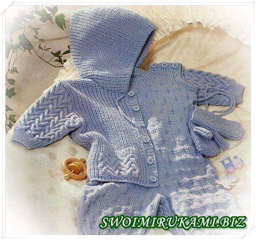 фото Комплект для малыша спицами с рельефным узором