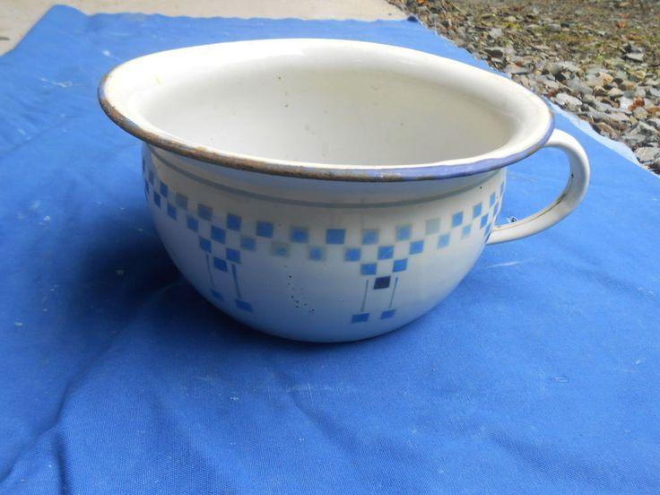 Pot de chambre ancien tole emaillee decor lustucru - Pot de chambre antique ...