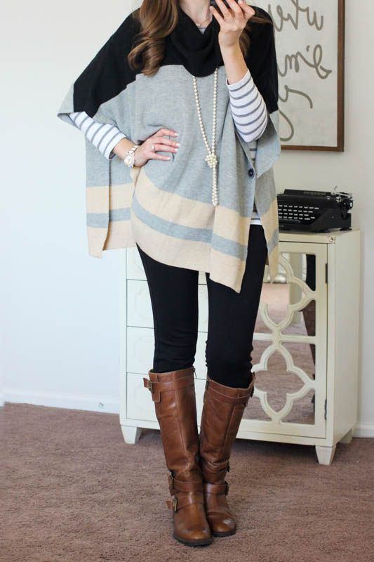Blake Poncho Pullover Sweater from Colourworks and Rizzo Skinny Pants from Liverpool