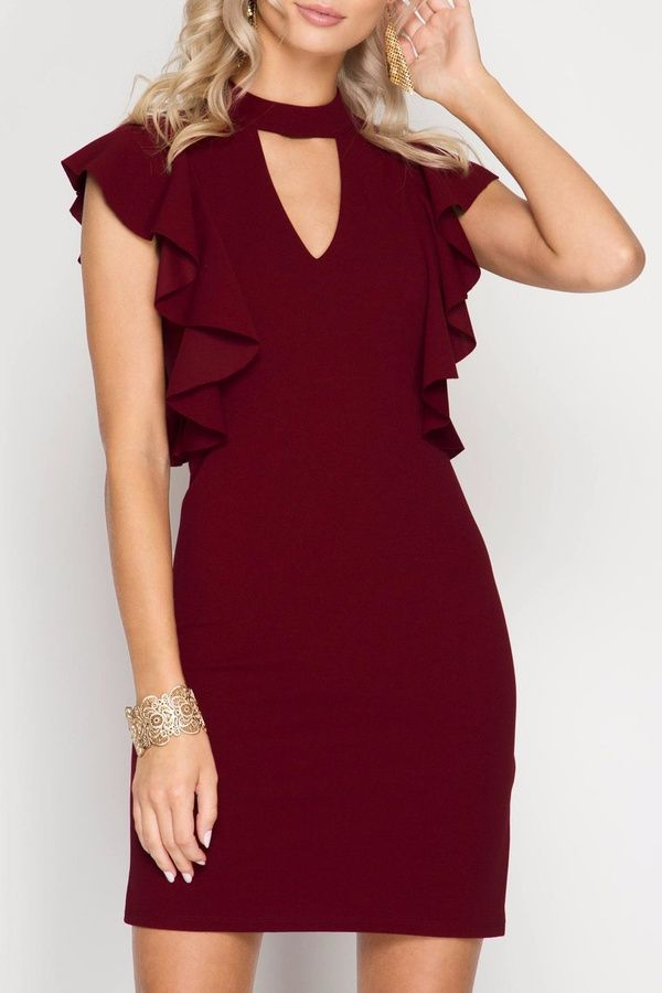 Apricot Lane St. Cloud One Step Closer Dress..Lovely burgundy dress! This would look great with some black heels. #afflink