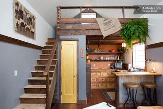 tiny house interior - Portland - Especially love the painted interior door color, and the reclaimed/recycled use of dresser in kitchen!