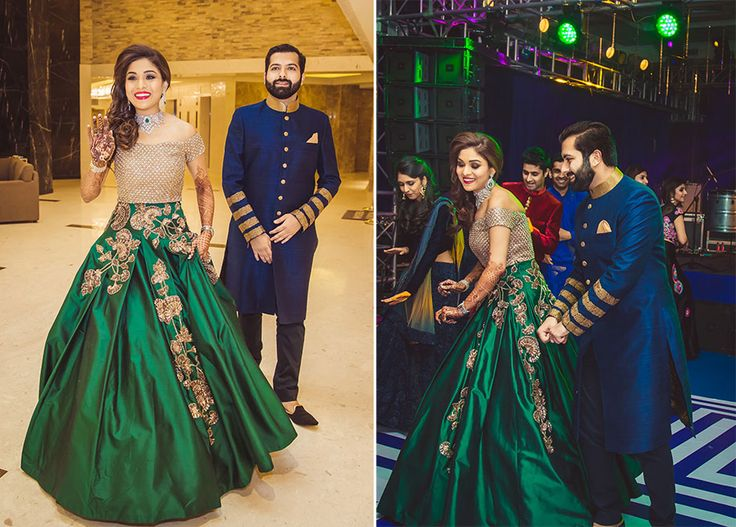 A beautiful green silk gown with floral gold work and an off shoulder gold bodice by Manish Malhotra.