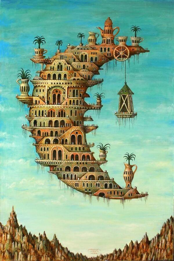 Salvador Dali Permalien de l'image intégrée crescent moon dwelling Levitation