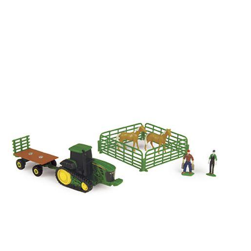 John Deere Farm Set W/Hay Wagon & Light Horses