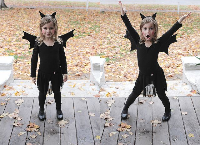 DIY Halloween-- homemade bat costume.  Super easy and totally adorable!