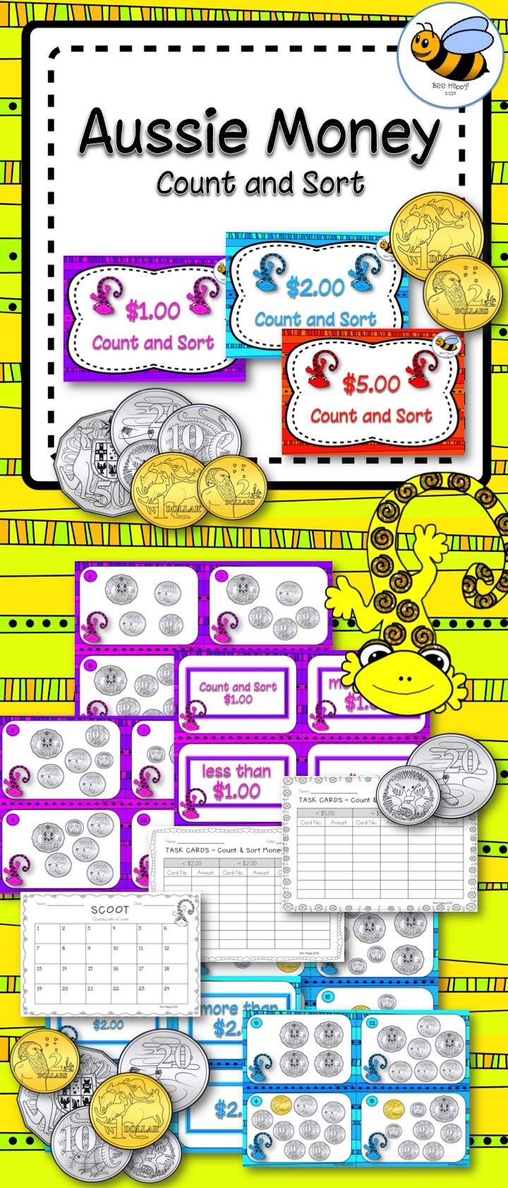 Three sets of task cards showing Australian money. Count and Sort activities will consolidate and review counting groups of coins. These cards show mixed sets of coins with amounts less than a dollar to more than five dollars. Perfect for differentiation. Individual, small group and whole class activities. Scoot game included!