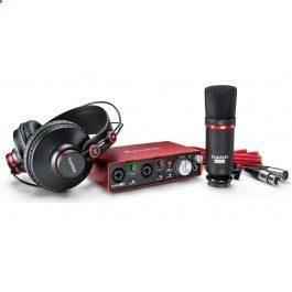The Focusrite Scarlett 2i2 Studio Package second generation contains a complete set-up which enables production of professional recordings on both Mac and PC. Included in the box is the Scarlett 2i2 second generation 2 in/2 out USB audio interface, closed-back headphones, condenser microphone, connection cables and all the software that is required. All this can be connected and the user can start recording in a matter of minutes.
