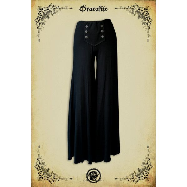 Palazzo Pant Medieval Clothing Steam Punk Pant for Larp Victorian... ($107) ❤ liked on Polyvore featuring costumes, black, pants, women's clothing, lady costumes, womens steampunk costume, womens costumes, victorian steampunk costumes and steampunk halloween costume