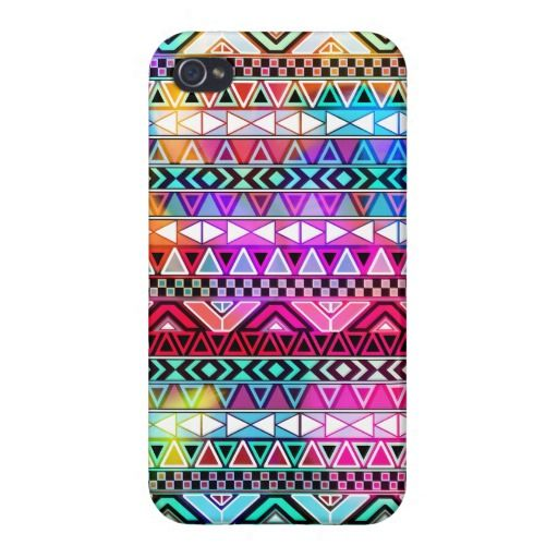 Pink Purple Bright Andes Abstract Aztec Pattern iPhone 4 Cover