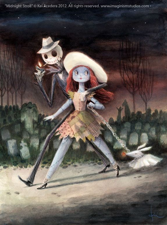 Midnight Stroll by `imaginism creepily wonderful fan art of Nightmare Before Christmas