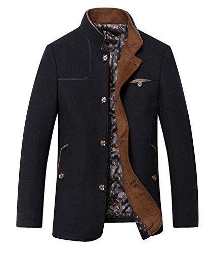 Shemen Mens Single Breasted Wool Full Length Charcoal Top...…