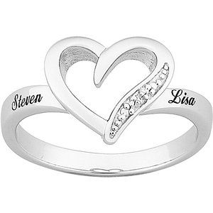Platinum-Plated Sterling Silver Hearts Personalized Promise Ring with Diamond Trim