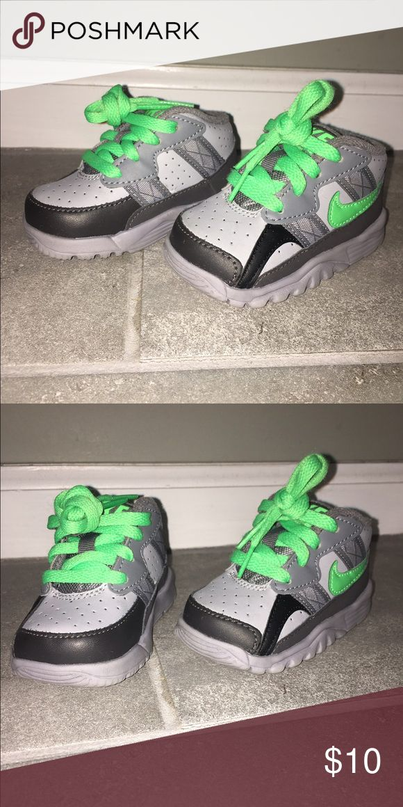 Baby Nikes Gray baby Nikes with lime green shoe laces. Barely worn. Nike Shoes Sneakers