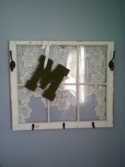 Old window, lace valance, hooks...window/halltree.